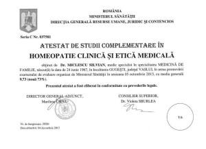 Atestat Homeopatie Ministerul Sanatatii