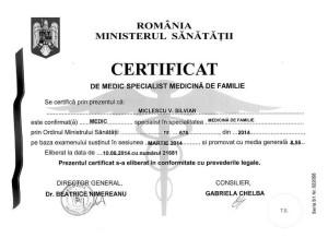 Certificat medic specialist Medicina de familie